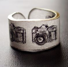 WHAT?@!? An awesome come back of one my favorite toys: Shrinky Dinks!...Shutterbug Camera Ring  Choose Your Size by dillondesigns on Etsy, $5.99