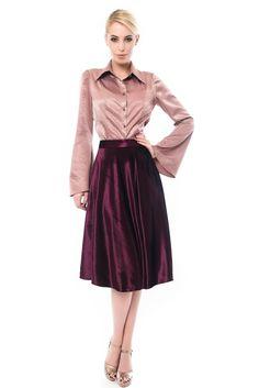 Purple Velvet, Dark Purple, Velvet Skirt, Tulle, Satin, Skirts, Sleeves, Fashion, Moda