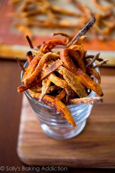 An easy recipe for baked sweet potato fries.