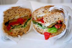 Roasted Veggie Sub: Start with a whole wheat roll and then fill it with roasted eggplant, red peppers, artichoke hearts, sun-dried tomatoes, light mozzarella, lettuce, and tomato. Dont forget a little drizzle of olive oil and balsamic vinegar!