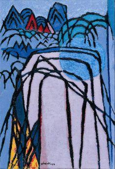 (Korea) Mountain and moon by Whanki Kim Oil on canvas. Art Painting, Lovers Art, Oriental Art, Korean Artist, Painting, Mountain Paintings, Art, Korean Painting, Art Walk