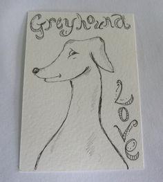 Original ACEO/ATC Greyhound by SimJaTa on Etsy, £3.00