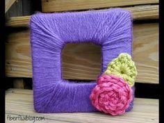 Blooming Photo Frame - The Yarn Box Diy Craft Projects, Yarn Projects, Craft Ideas, Kid Projects, Photo Projects, Diy Ideas, Crochet Home, Free Crochet, Easy Yarn Crafts