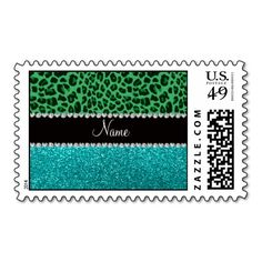 Personalized name green leopard turquoise glitter stamp