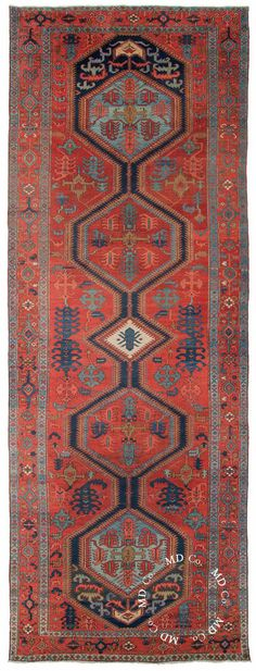 Persian Heriz Rug Runner – Collector Rugs from Dilmaghani Wall Carpet, Rugs On Carpet, Persian Carpet, Persian Rug, Plastic Carpet Runner, Tabriz Rug, Carpet Design, Red Rugs, Rug Runner