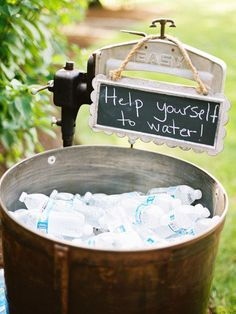 Outside wedding /original ideas/ water station