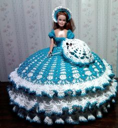Bed Doll Collectors Crocheted Aqua Blue by KnitAndCrochetPalace, $150.00