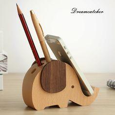 Sólido de madera multifuncional diseño elefante soporte para teléfono móvil con lazo agujero de escritorio escritorio de oficina escritorio de la decoración