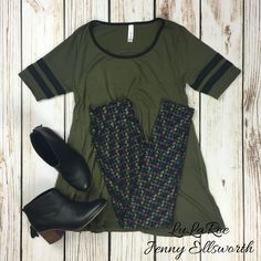 LuLaRoe Perfect Tee, Leggings and Toms booties. Join my group to shop!