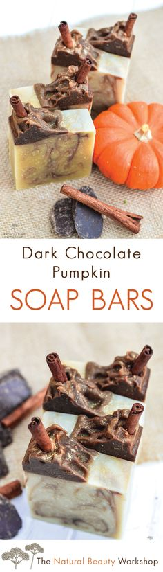 Dark Chocolate Pumpkin Soap Recipe! A creamy moisturizing soap bar made with pumpkin seed oil and cocoa.