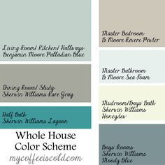 Whole house color scheme. Benjamin Moore Palladian Blue, Revere Pewter, Sea Foam. Sherwin Williams Rare Gray, Honeydew, Lagoon, Moody Blue. Paint colors inspiration: gray beige, blue, light green.