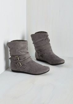 Bramble On Bootie in Fog - Grey, Solid, Buckles, Ruching, Good, Ankle, Flat, Faux Leather, Faux Fur, Variation