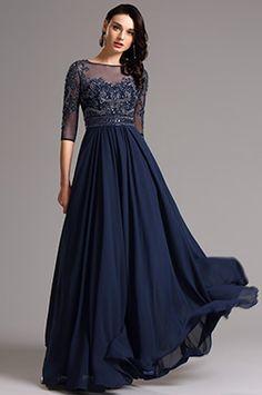 kurzärmelig dunkel Blau Abendkleid Formal kleid (36161305) - EUR 178,49
