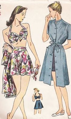 Rita Hayworth Style Bathing Suit and Beach Dress Play Suit Pattern Simplicity 1022 Vintage Sewing Pattern WW II Pin Up Style Bra Top Flared Skirt Swimsuit Front Button Cover Up Dress Bust 30 Dress Making Patterns, Vintage Dress Patterns, Clothes Patterns, Sewing Clothes, Vintage Tops, Trendy Dresses, Nice Dresses, Suit Pattern, Pattern Sewing