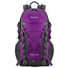 Gonex Barbarian Outdoor Hiking Climbing Backpack Daypacks Waterproof Mountaineering Bag 40L Rain Cover Included Purple ** Read more info by clicking the link on the image. #BackpacksandBags