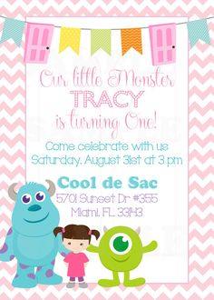 Items similar to Personalized Monsters Inc Inspired Girls Birthday Invitation & Tags- Printable File on Etsy Monsters Inc Boo, Monsters Inc Baby Shower, Monster Inc Party, Monster Birthday Parties, Monster 2, Monsters Inc Invitations, Girl First Birthday, 5th Birthday, Birthday Ideas