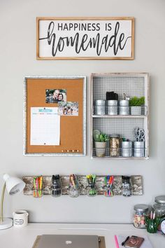 Use Up Free Wall Spacegoodhousemag Desk Wall Organization, Small Office Organization, Wall Storage, Organization Ideas, Diy Storage, Organization Station, Organizing Tips, Cubicle Organization, Small Office Storage