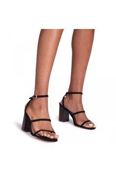 Black Block Heel Shoes, Strappy Block Heel Sandals, Black Strappy Heels, Black Suede, Work Heels, Shoes Heels, Heels Outfits, Fresh Shoes, Leather Slippers
