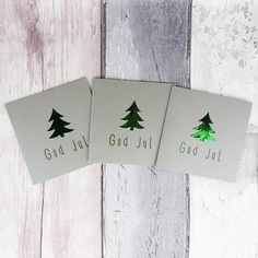 These mini handmade silver Christmas cards are 4 inches wide and 4 inches tall and feature a Christmas tree (Xmas tree) embellishment in either pearlescent or foiled card with a selection of colours and messages, including: God Jul, for you to personalise your cards.  The message on the front of the card is hand stamped with same colour ink to match the Christmas tree embellishment.  These cards are available in packs of 6 or 12, with an additional saving on the 12 packs.  PERSONALISING YOUR… Christmas Tree And Santa, Silver Christmas, Xmas Tree, Handmade Christmas, Holiday Cards, Christmas Cards, Scandinavian Christmas, Greeting Cards Handmade, Homemade Cards