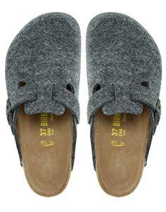 Image 4 of Birkenstock Boston Gray Wool Clogs
