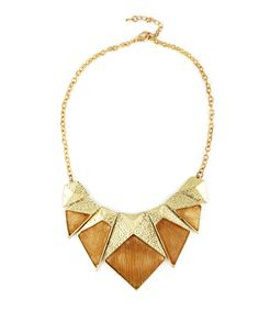 Wooden Texture Bib Chunky Necklace   Wooden Texture Bib Chunky Necklace
