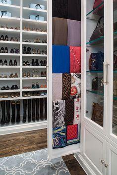 Love the idea of the scarf storage - The London Loft Closet - traditional - closet - los angeles - by Lisa Adams, LA Closet Design Loft Closet, Closet Storage, Cabinet Closet, Shoe Closet, Custom Walk In Closets, Dream Closets, Pottery Barn, Armoire, Scarf Storage