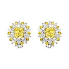 "Betteridge Yellow & White Diamond ""Starburst"" Cluster Earclips"