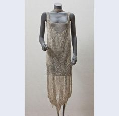 Callot Soeurs (fashion house) (Evening) thrown tulle dress embroidered with rhinestones and white beads with narrow, loose belt Paris 1920-1924