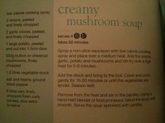 Creamy mushroom soup from Slimming World's little book of soups , Slimming World Soup Recipes, Slimming World Syns, Slimming World Cook Books, Slimming World Mushroom Soup, Creamy Mushroom Soup, Creamy Mushrooms, Stuffed Mushrooms, Coffee Benefits