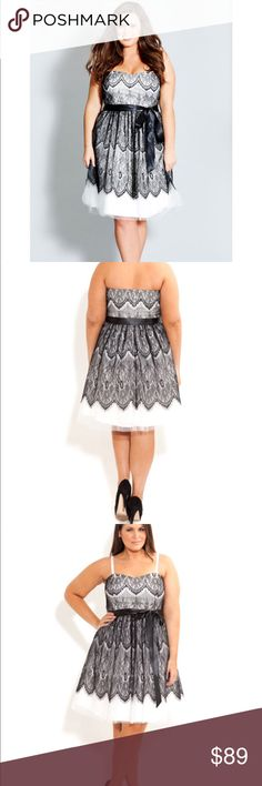 NWT! Beautiful Blk/Wht Lace Dress by City Chic 18 You do NOT want to miss this... NWT! Beautiful Blk/Wht Lace Dress by City Chic 18... comes from a smoke and pet free home City Chic Dresses Midi
