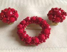 Vintage HOBE signed Red Rhinestone Beaded Wreath Brooch Matching Earrings #Hobe