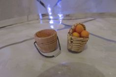 Vintage Woven Wicker Egg Basket & Wooden Bucket Pail Dollhouse Miniatures  #Unbranded