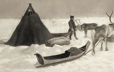 Sami camp, Finnmark Norway, 1890 - 1920 - interesting to note shape of boat, and construction of dwelling - must look for similar earlier dated photos or etchings Norwegian People, Kingdom Of Sweden, Lappland, National Art, Thinking Day, Arctic Circle, First Nations, Old Photos, Scandinavian