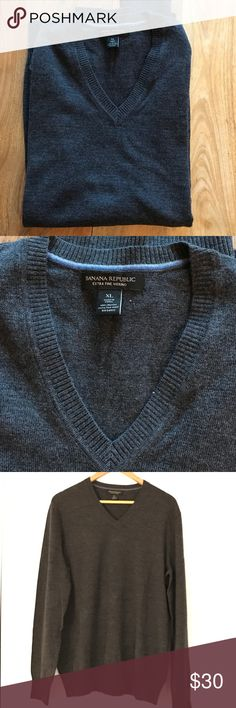 Men's Banana Republic sweater This Charcoal gray V-neck sweater is in mint condition. Also selling in black, light gray, royal blue, navy and light purple. Banana Republic Sweaters V-Neck