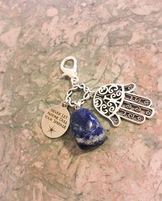 Lapis Lazuli Stone Hamsa Hand Good Luck by WingsAndThingsbyAlex