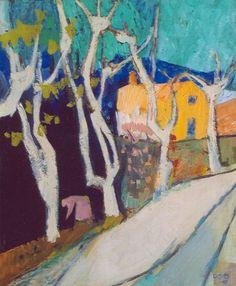 Oepts W.A. | Bomen en vrouw in Frans landschap, olieverf op doek 55,5 x 46,0 cm, gesigneerd r.o. en gedateerd '55