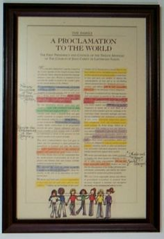 YW Value proclamation to the family activity