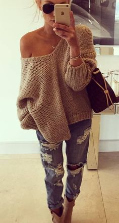 knit + ripped jeans