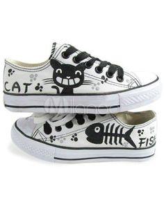 [€14,79] Weiße Handbemalte Schuhe mit Schnüren und schwarzen Katze-Mustern