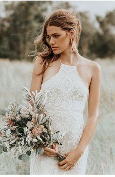 Casablanca Lace Halter Gown Size 4 Wedding Dress for sale!– OnceWed.com. #usedweddingdresses #bargainweddingdress #budgetweddingdress