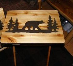 Two Wood TV Tray tables Moose and Bear Hand Made Design Rustic Cabin decor. $100.00, via Etsy.