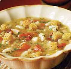 French Farmers' Soup - Fine Cooking (white beans, shallots, leek, bacon, carrots, celery root, turnips, broth, bread, parsley)