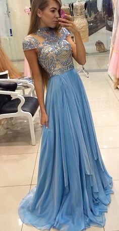 Blue Prom Dresses, Long Prom Dresses, Light Blue Prom Dresses, High Neck Prom Dresses, Prom Dresses Long, Prom Dresses Blue, Chiffon Prom Dresses, Long Blue Prom Dresses, Light Blue dresses, Long Evening Dresses, High Neck dresses, Rhinestone Evening Dresses, Chiffon Evening Dresses, High Neck Evening Dresses