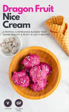 super easy dragon fruit nice cream recipe made using just a blender and ready in under 5 minutes! This healthy vegan ice cream is made entirely from frozen fruit using bananas mango raspberry and pink pitaya/dragon fruit! Vegan Snacks On The Go, Healthy Vegan Desserts, Vegan Dessert Recipes, Fruit Recipes, Vegan Recipes Easy, Vegan Meals, Vegan Sweets, Quick Recipes, Vegan Food