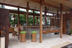 Outdoor bar at Six Senses in Con Dao. Love the colourful accent!