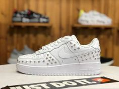 hot sale online c888b a906b Nike Air Force 1 Low Stars White Sivler AR0639-100 Womens Running Shoes Nike  Air