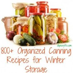 800  Organized Canning Recipes for Winter Storage  DIY  Crafts Like, Comment, Repin !!