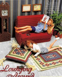 FASHION DOLL BARBIE SOFA BED, RUGS, CLOCK - CROCHET & PLASTIC CANVAS PATTERNS