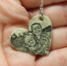 Photo Pendant  Heart Custom pottery jewelry by GirlwithaFrogTattoo