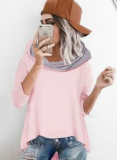 FloryDay / Black Friday Hooded Color Block Casual Loose Long None Sweaters Casual Outfits, Fashion Outfits, Fashion Trends, Women's Fashion, Ladies Fashion, Fashion Online, Long Sleeve Midi Dress, Loose Sweater, Pulls